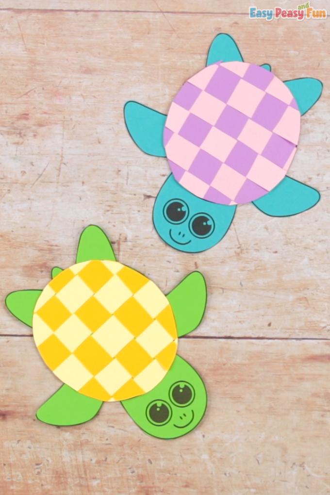 Paper Weaving Turtle Craft for Kids Ötletek