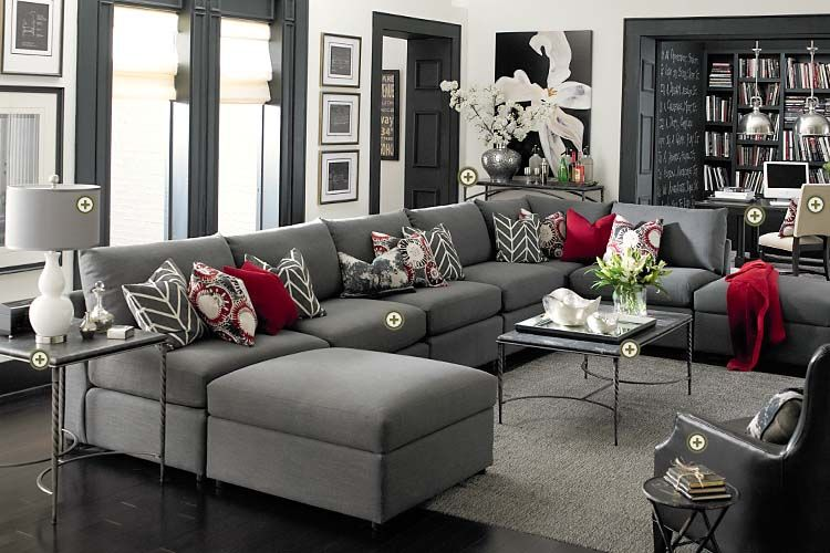Red Sofa White Living Room Complete Set Bassett Furniture Gray Walls Dark Trim Floors And Awesome Floor To Ceiling Library