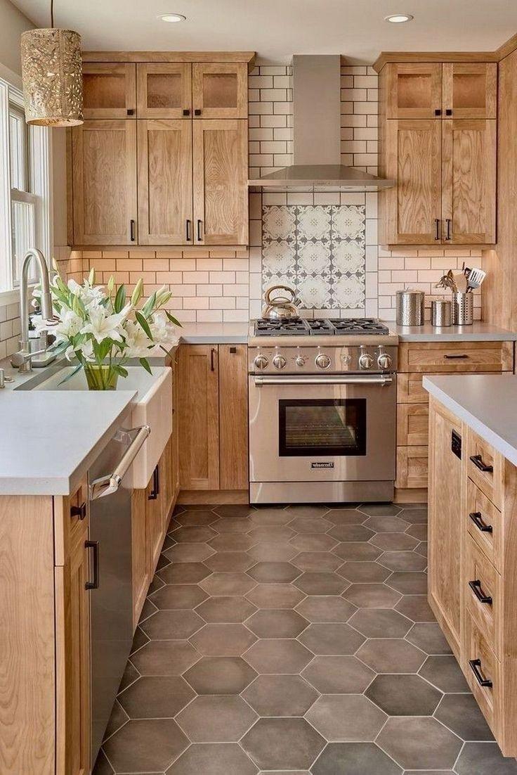 Farmhouse Kitchen In 2020 Cherry Wood Kitchen Cabinets Kitchen Cabinets Home Depot Farmhouse Kitchen Cabinets