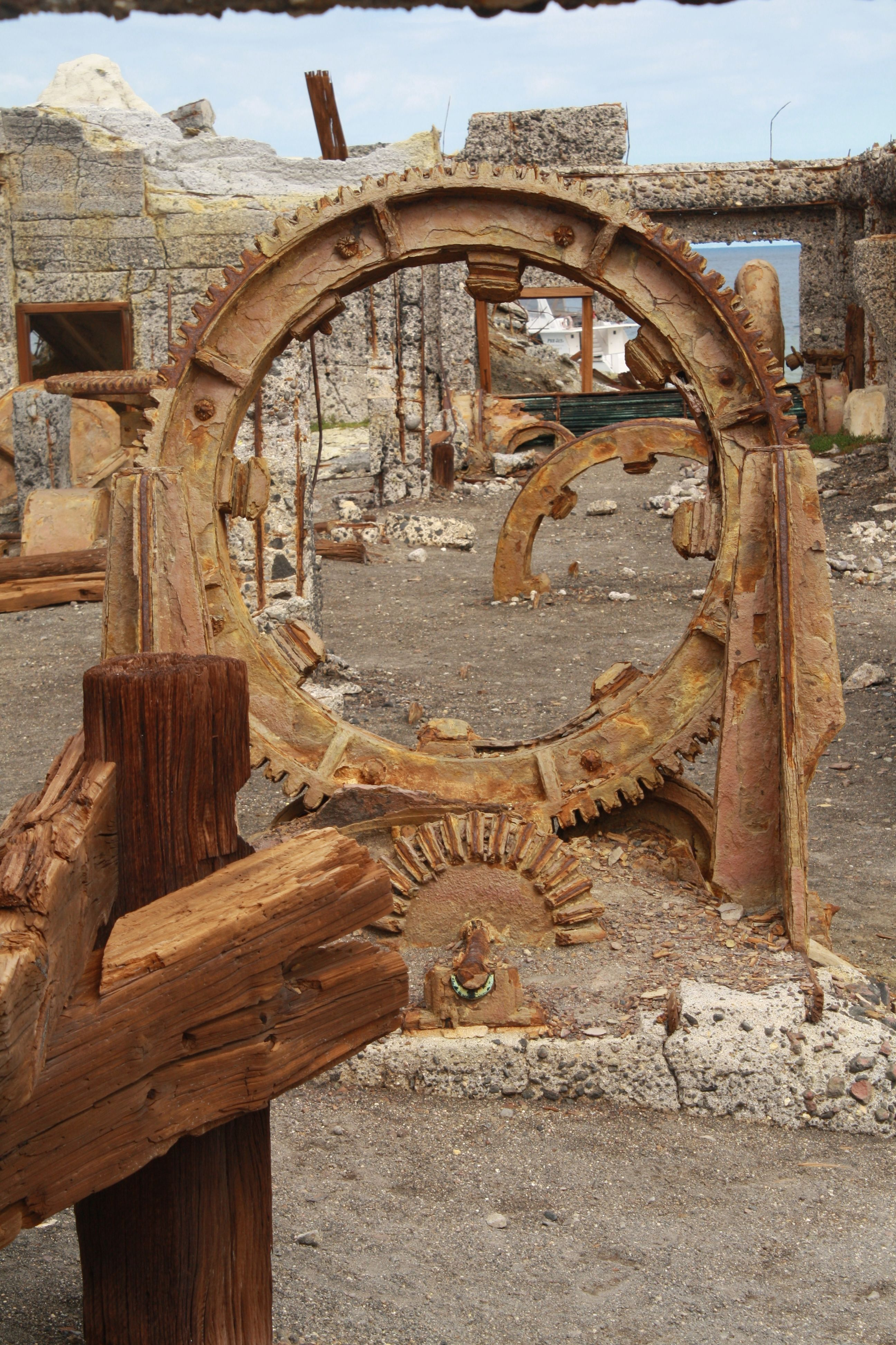 Old mining equipment. Places to go, Active volcano