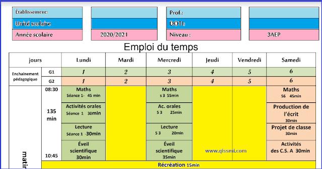 استعمال الزمن فرنسية للمستوى 3 الثالث ابتدائي وفق المنهاج المنقح 2020 Periodic Table