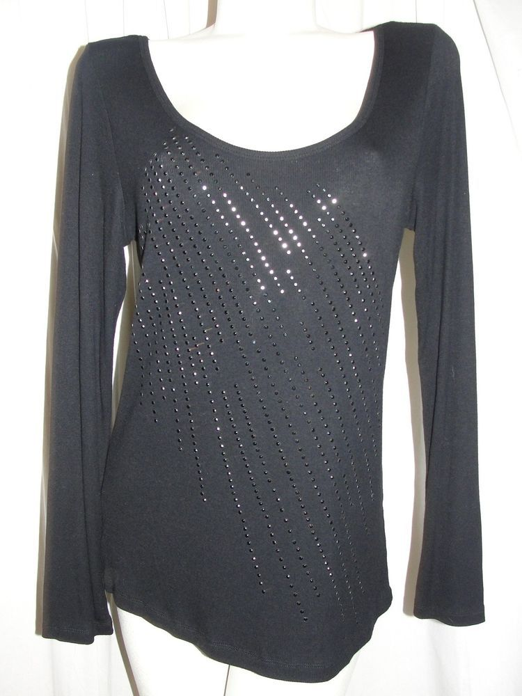 NEW CALVIN KLEIN Women's Top Black Scoop Neck Gem Embellished LS T-Shirt Size XL #CalvinKlein #KnitTop #Casual