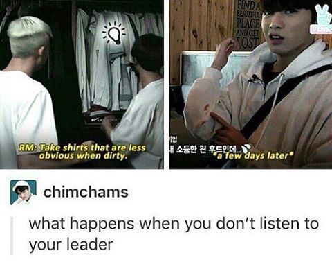 let's try listen to leader hyung, makane