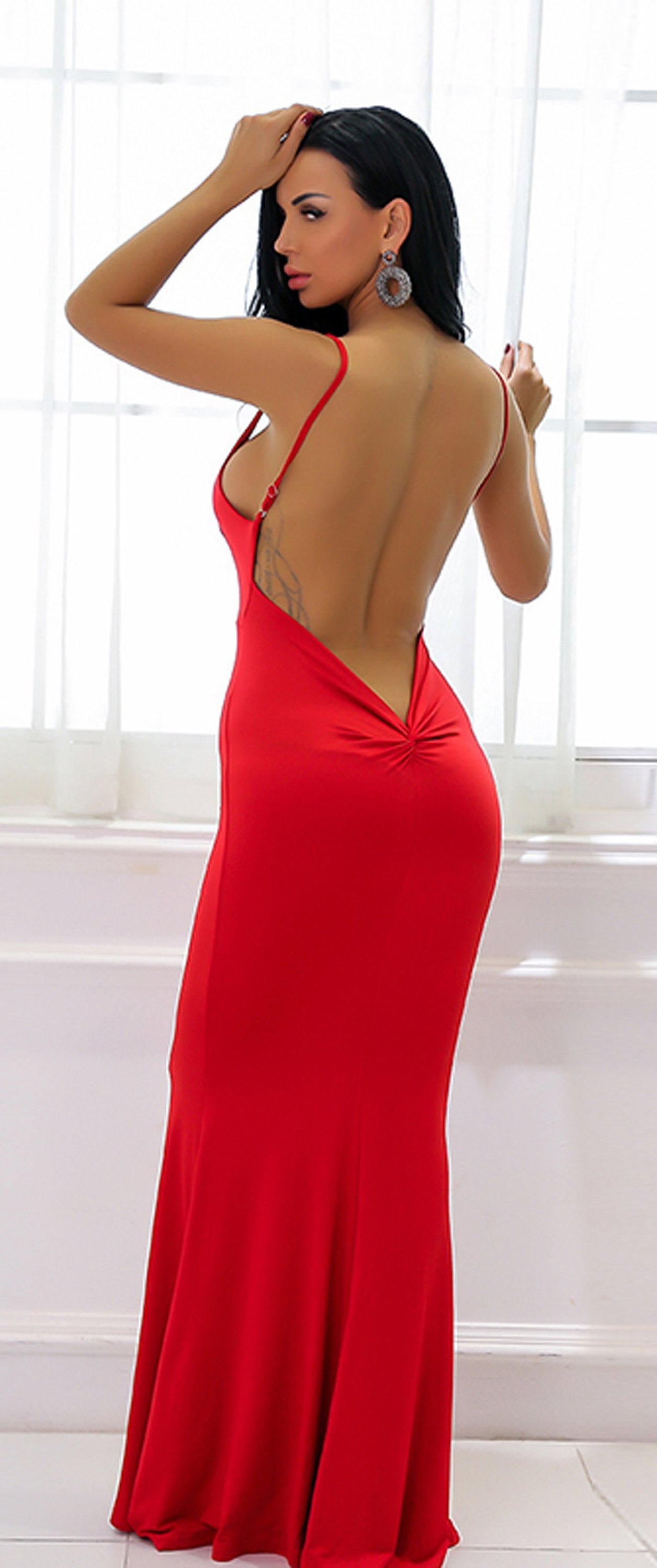 ba7695da3e Hot Red Tight Long Prom Dresses - Low Cut Ruched Backless Deep V Neck  Plunge Mermaid Gown Simple Maxi Dress for Graduation Homecoming Cocktail  Evening Party ...