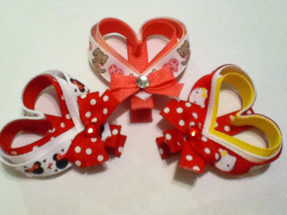 Valentine's Day Heart Ribbon Sculpture Hair Clippies Clip. $3.00, via Etsy.