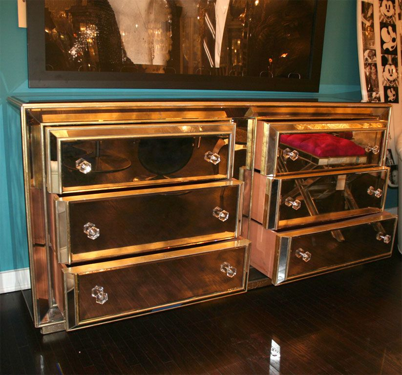 Best Smoked Mirrored Dresser With Gold Leaf Wood Trim From A 400 x 300
