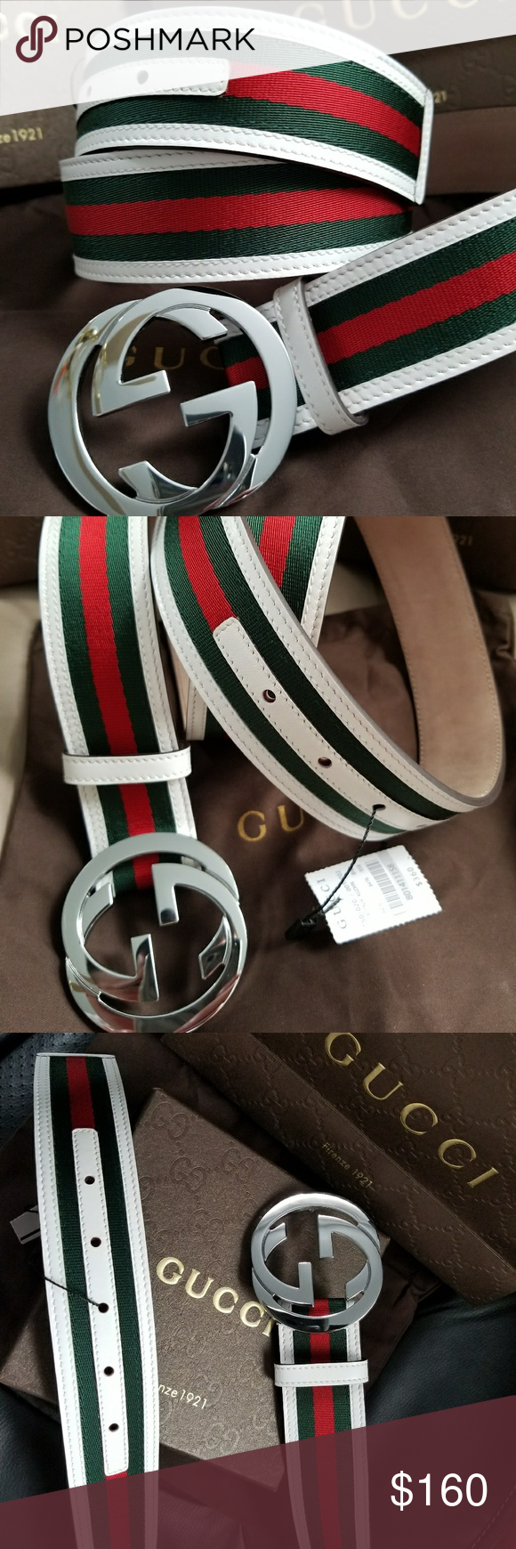 e8a3bab2659 😍Authentic Gucci Belt White Green Red Stripes 😍Brand New Gucci Belt Green  Red Stripes