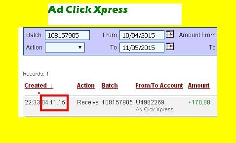 Here is my Withdrawal Proof from AdClickXpress. I get paid daily and I can withdraw daily. Online income is possible with ACX, who is definitely paying - no scam here. I WORK FROM HOME less than 10 minutes and I manage to cover my LOW SALARY INCOME. If you are a PASSIVE INCOME SEEKER, then AdClickXpress (Ad Click Xpress) is the best ONLINE OPPORTUNITY for you!!  http://www.adclickxpress.com/?r=nzg3wr4eqs&p=aa