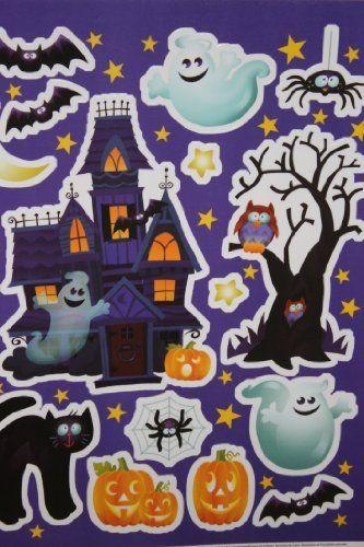 Cartoon Ghosts  Haunted House Scene Halloween Color Clings Window - halloween window clings
