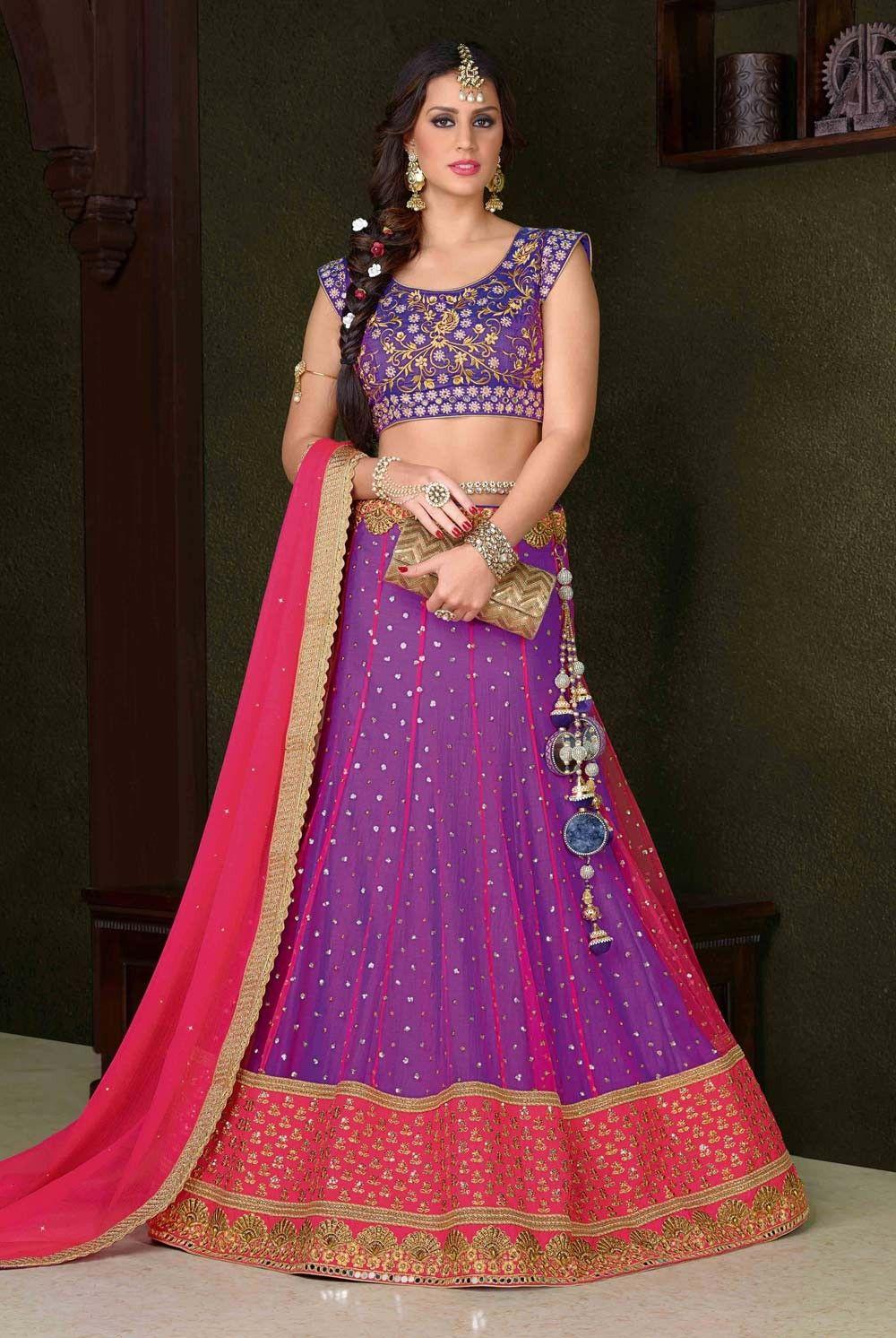 4a844e3287 Purple ethnic Jaipuri net lwngha choli for sangeet party D17080 Indian  Lehenga, Lehenga Choli Online