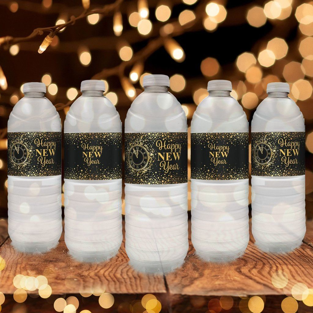 these black and gold new years eve water bottle labels are the perfect refreshment decorations for your upcoming 2018 new years eve party