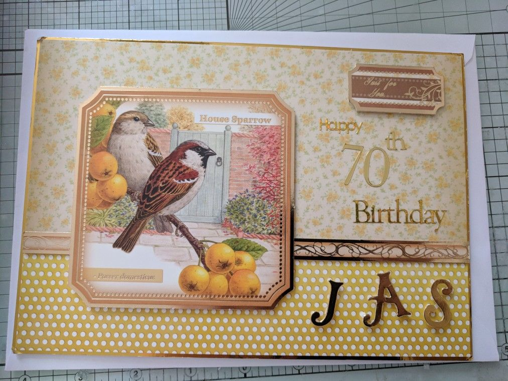 Birthday card using Hunkydory's cardstock and toppers