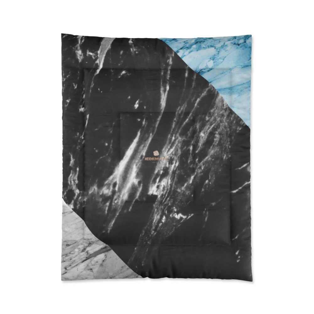 Gray Marble Comforter Blue Marble Print Comforter For King Queen Full Twin Bed Printed In Usa Print Comforter Marble Print Black And White Marble