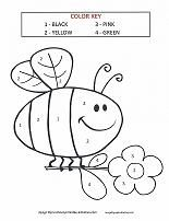 Color by Number Coloring Pages Bee activities, Preschool