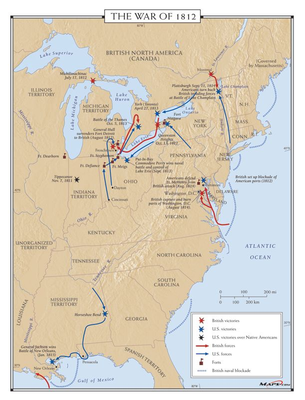 War Of Battle Map Genealogy Guides Resources Pinterest - Map of us during war of 1812