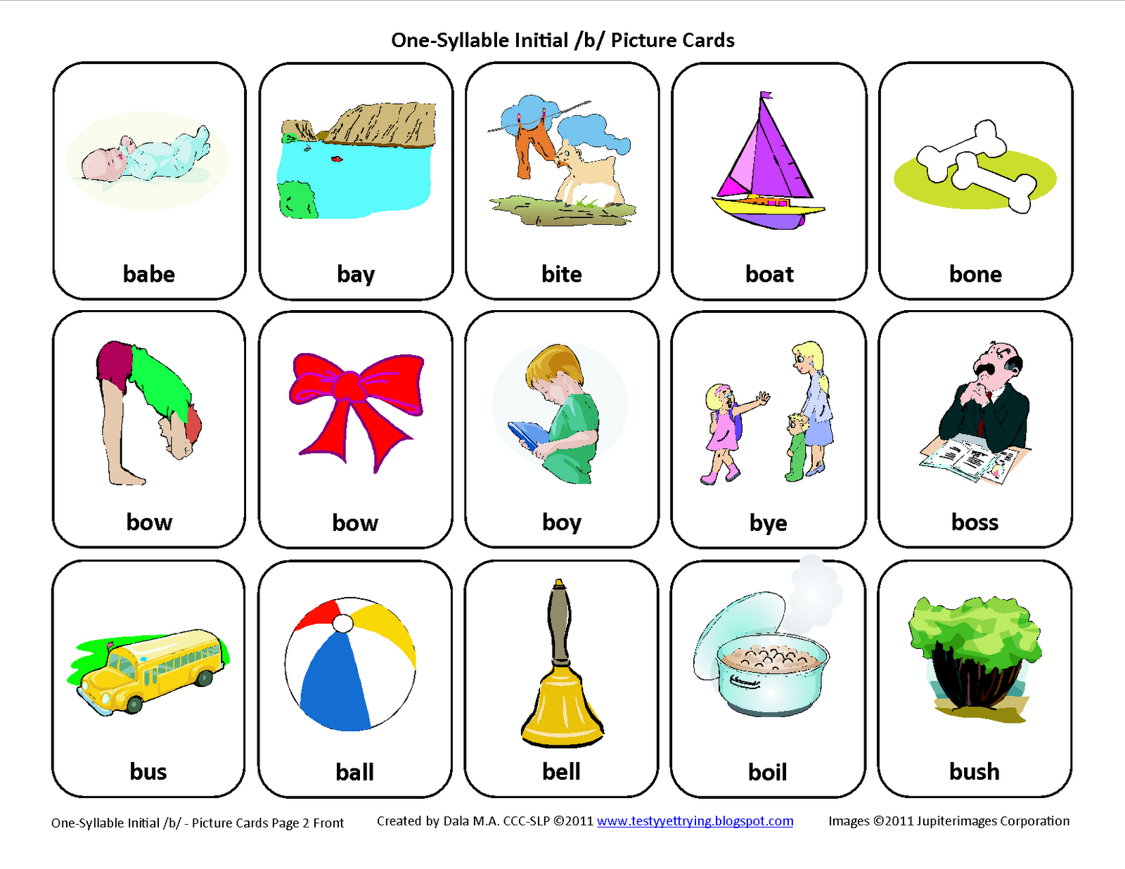 Initial B Free Speech Therapy Articulation Picture Cards