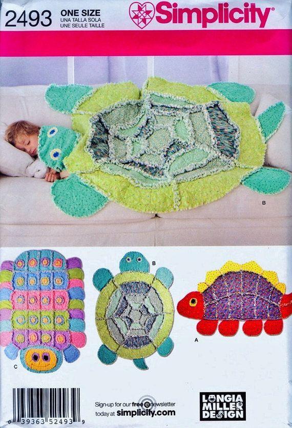 Childs' Rag Quilt Pattern Dinosaur Rag Quilt Turtle Rag by blue510 ... : turtle rag quilt - Adamdwight.com