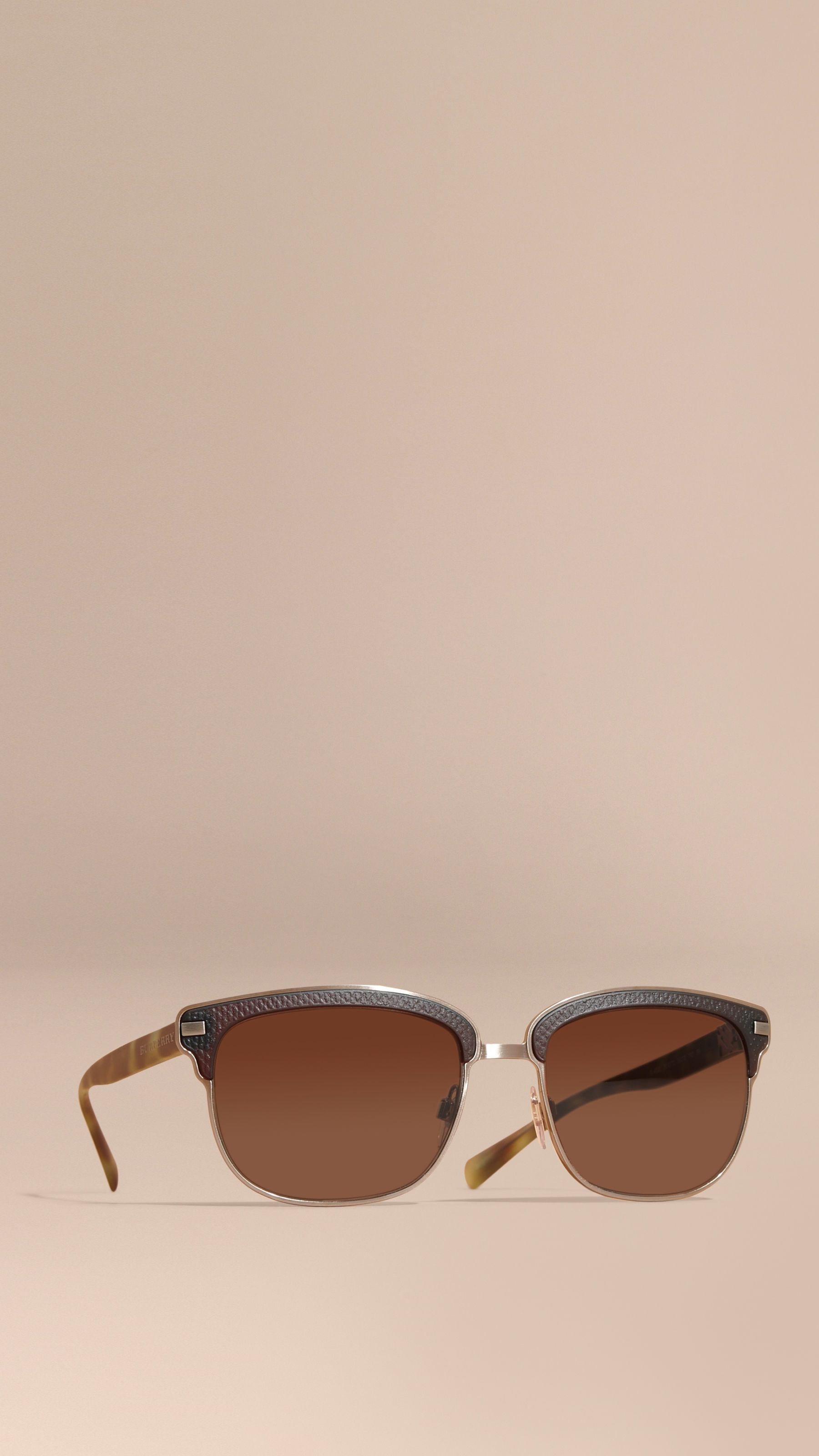 14ef3a9f170 Textured Front Square Frame Sunglasses Brown