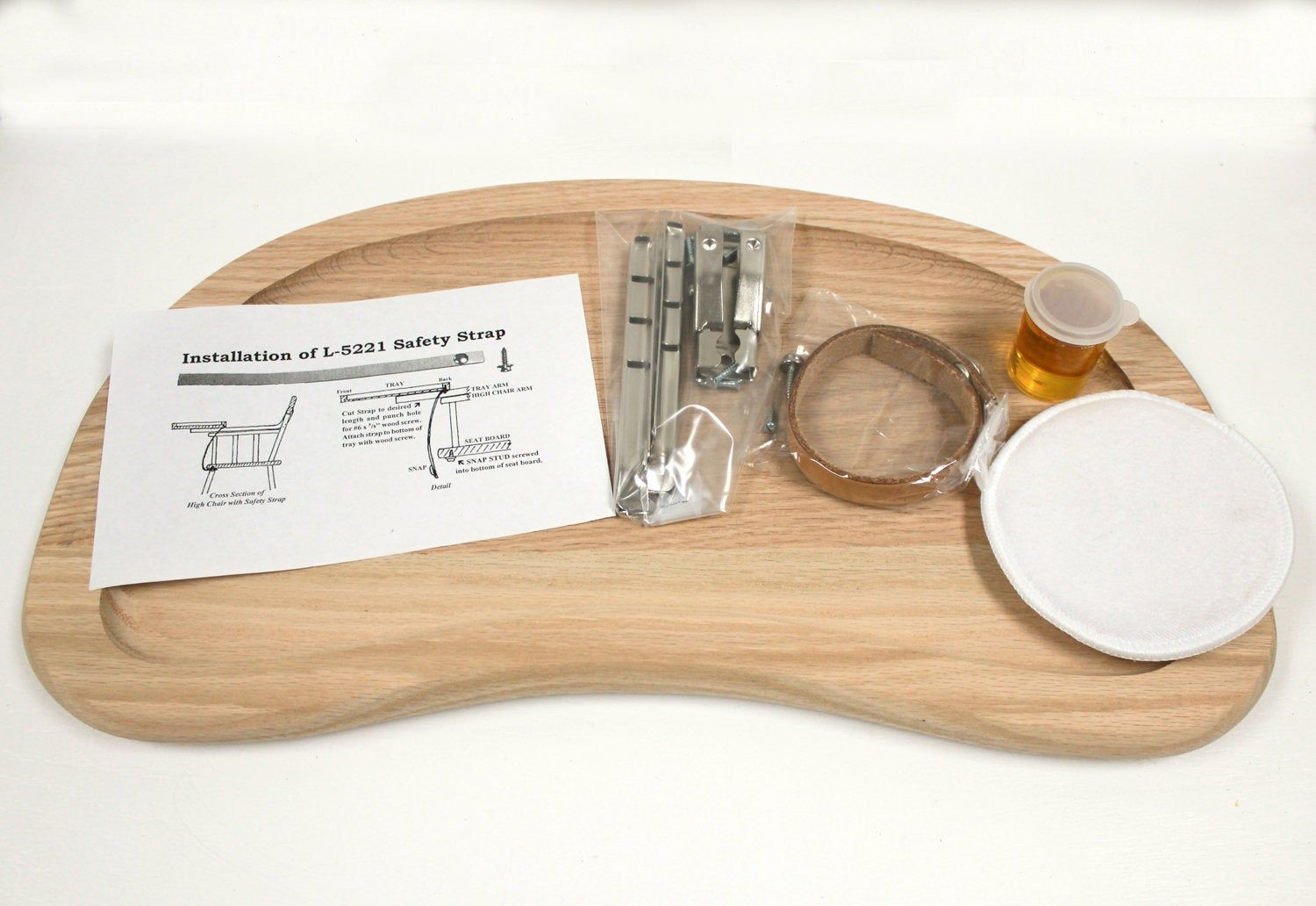 High chair tray kit tray hardware safety strap sealer and