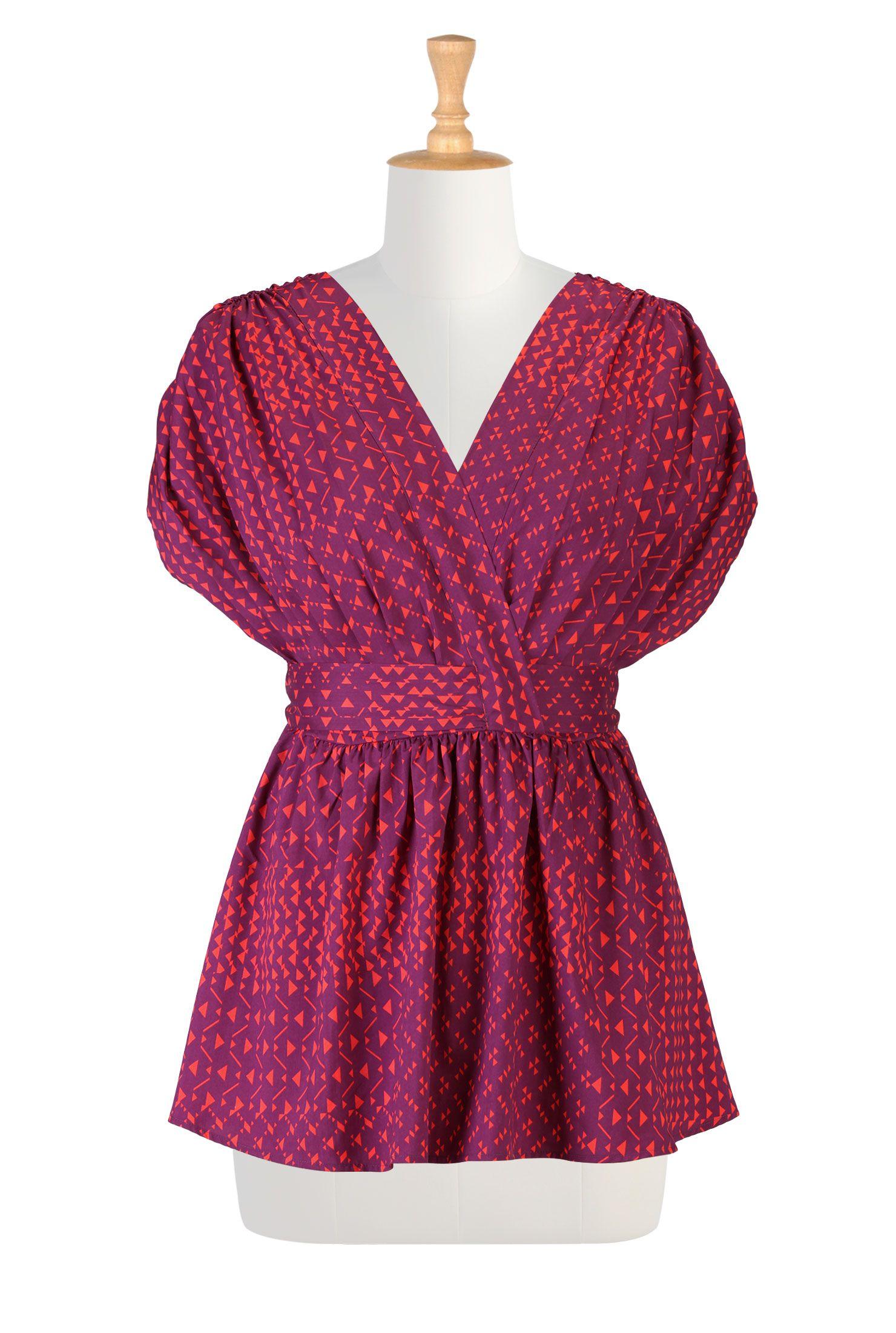 Faux wrap pleated print blouse fashion design