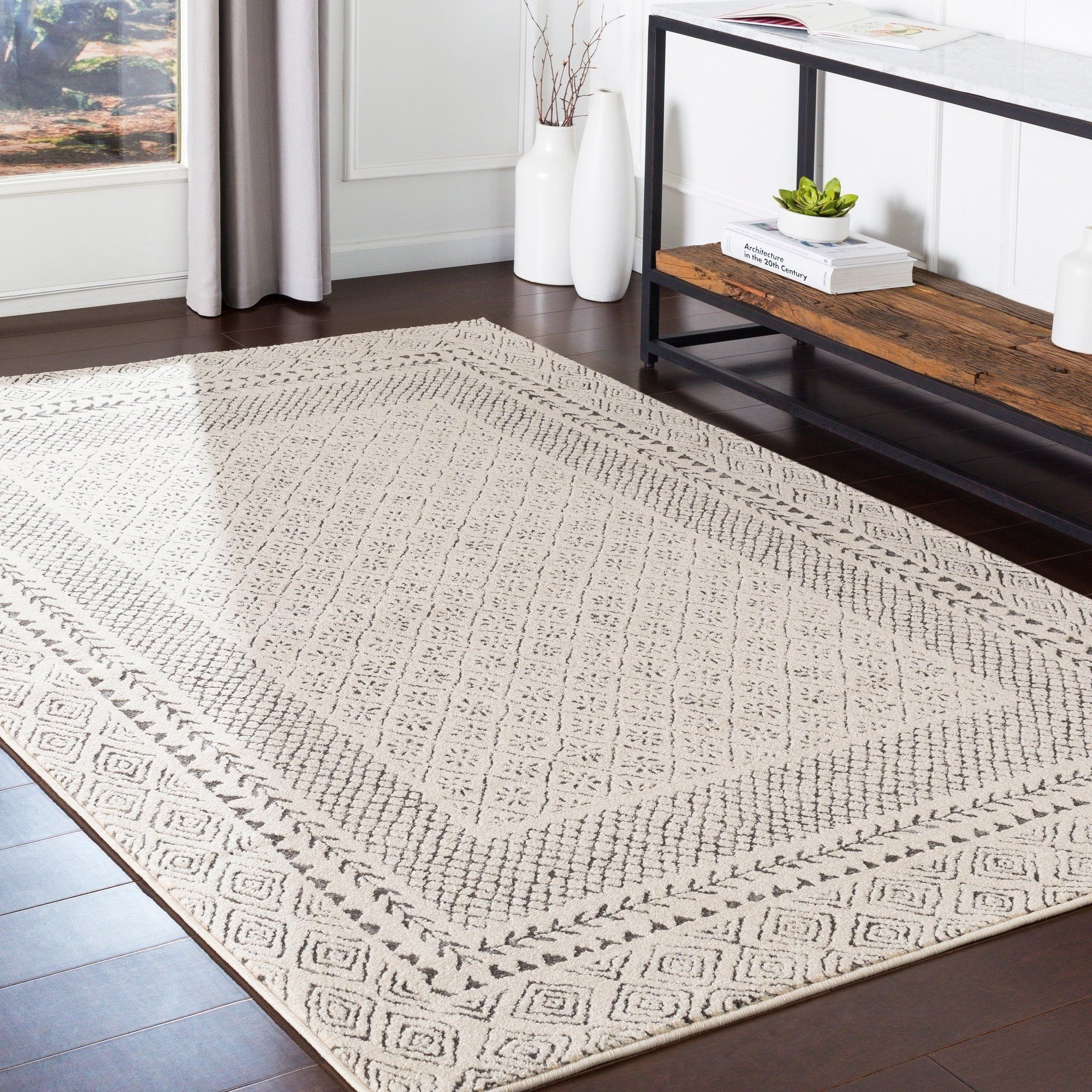 The Curated Nomad Schneider Bohemian Border Area Rug 6 7 X 9