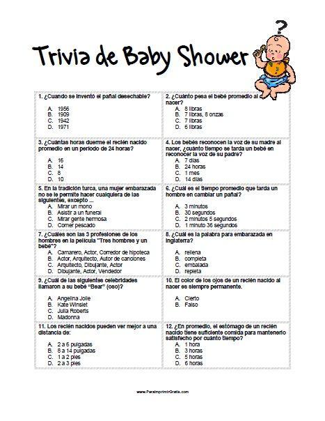 Juego Trivia De Baby Shower Para Imprimir Juegos Para Baby