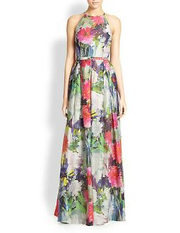 Kay Unger Sleeveless Floral Gown