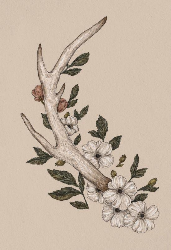 Floral Antler Art Print | Tattoos | Pinterest | Tatuajes, Arte and ...