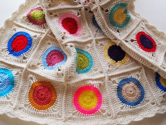 Reserved for carolemoss - Colorful afghan blanket, crochet throw in granny square with circles
