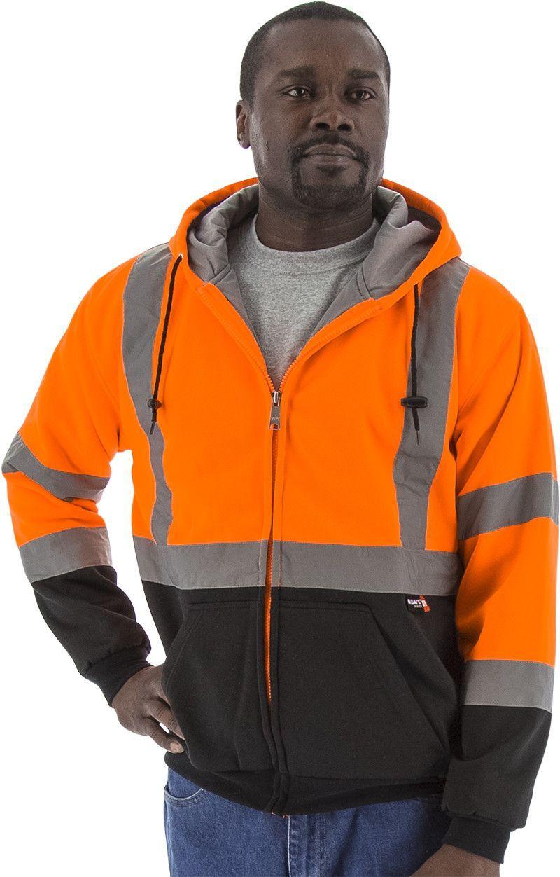 Majestic 755332 Hi Vis Orange Zipper Heavy Weight