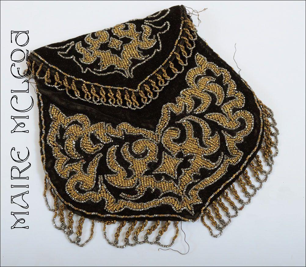 Charming c1915 Velvet  Beaded Purse Hand Bag  *Steel Cut Beads *Bargain Rm