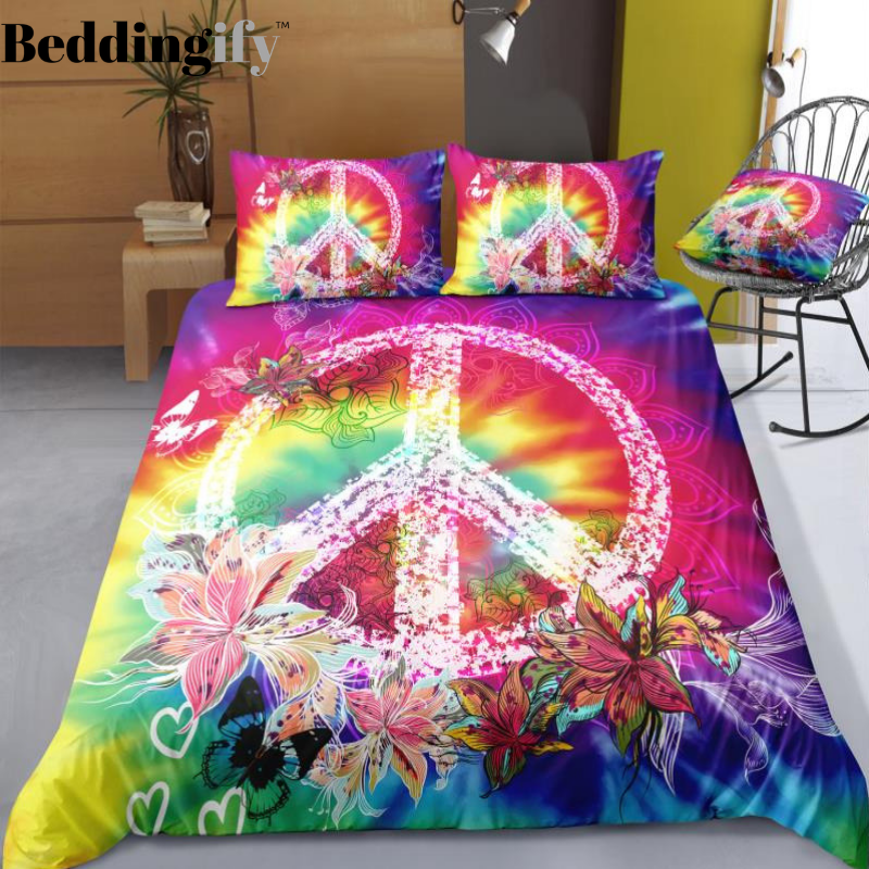 Tie Dyed Flowers Peace And Love Symbol