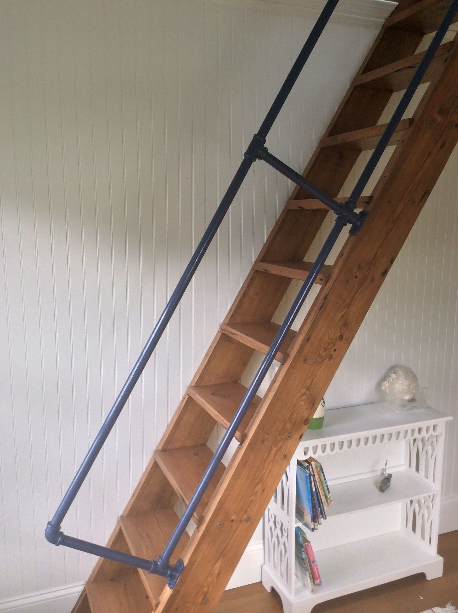 Nautical Loft Ladder Pipe Railing Barn Wood Ladder