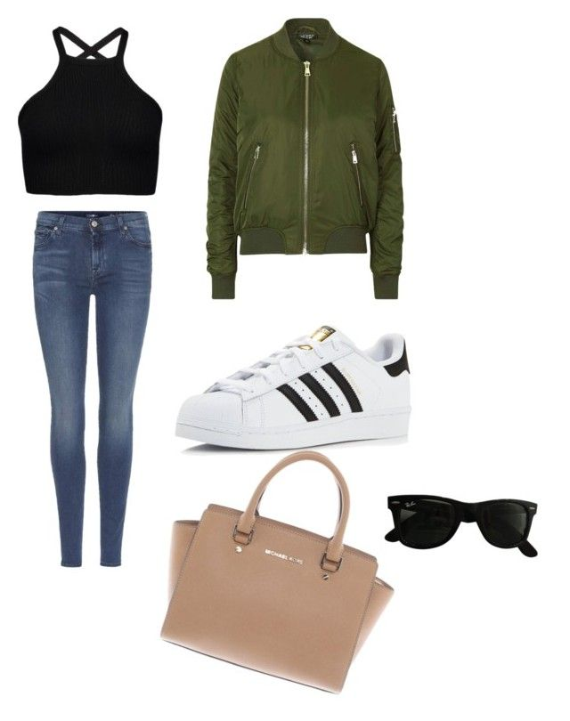 """school"" by treeandme on Polyvore featuring Topshop, 7 For All Mankind, adidas, Michael Kors and Ray-Ban"