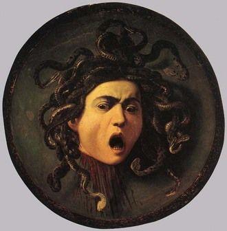 Cabeça de Medusa, Caravaggio,1598, encomendada como presente para o ggrão-duque da Toscana, entrou para coleção dos Médici. Galeria Uffizi, Florença