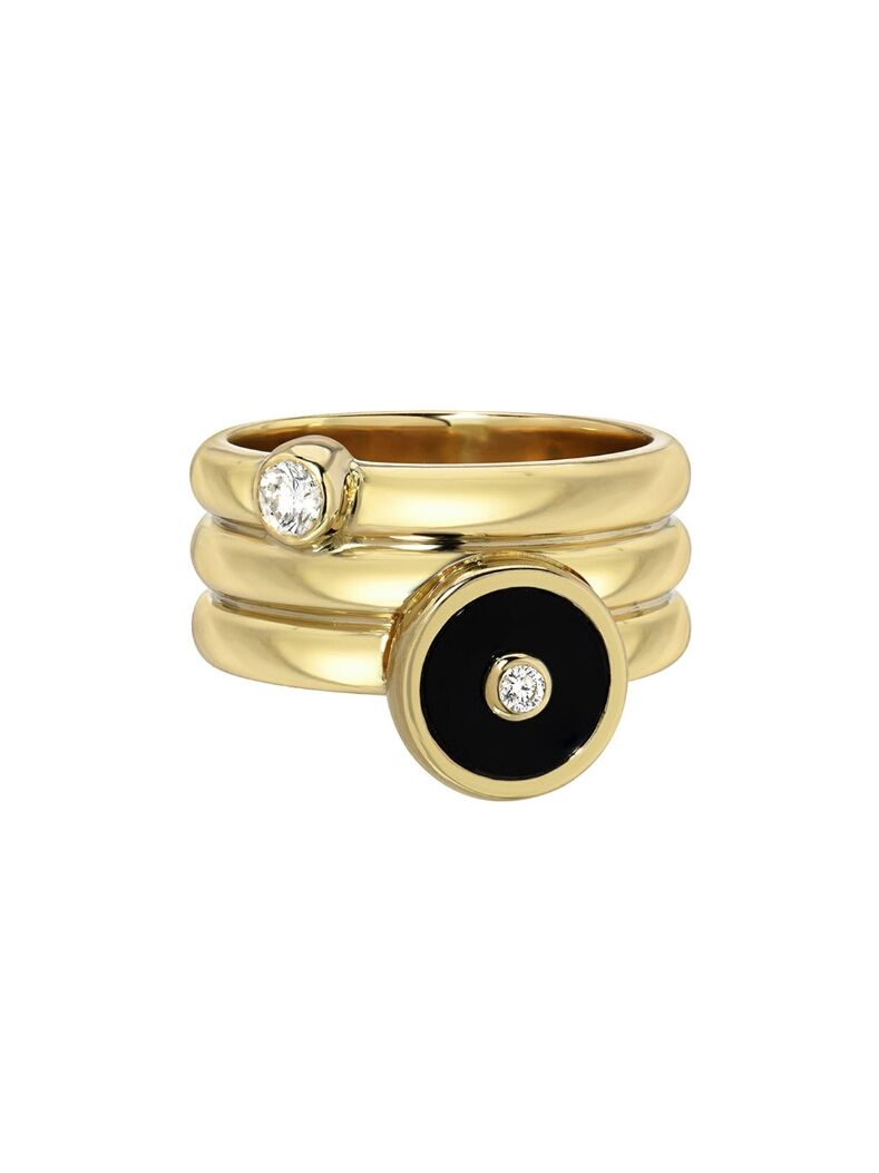 Retrouvai Jewelry Onyx Triple Coil Pinky Ring