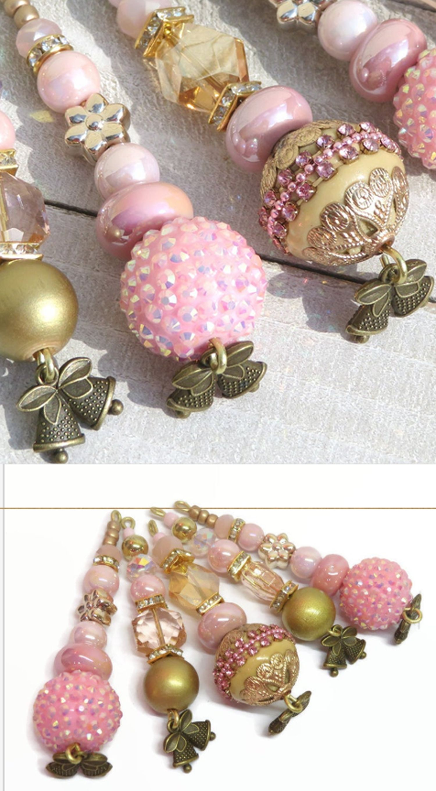 Pink And Gold Beaded Christmas Ornaments Victorian Style Tree Etsy Beaded Christmas Ornaments Holiday Tree Decorations Pink Ceramic