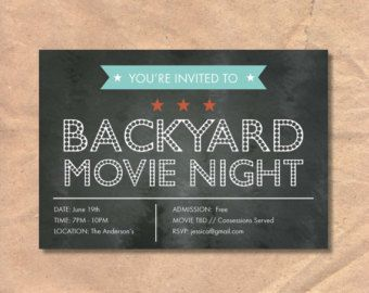 50 off sale movie night invitation printable by funparty2015 bday