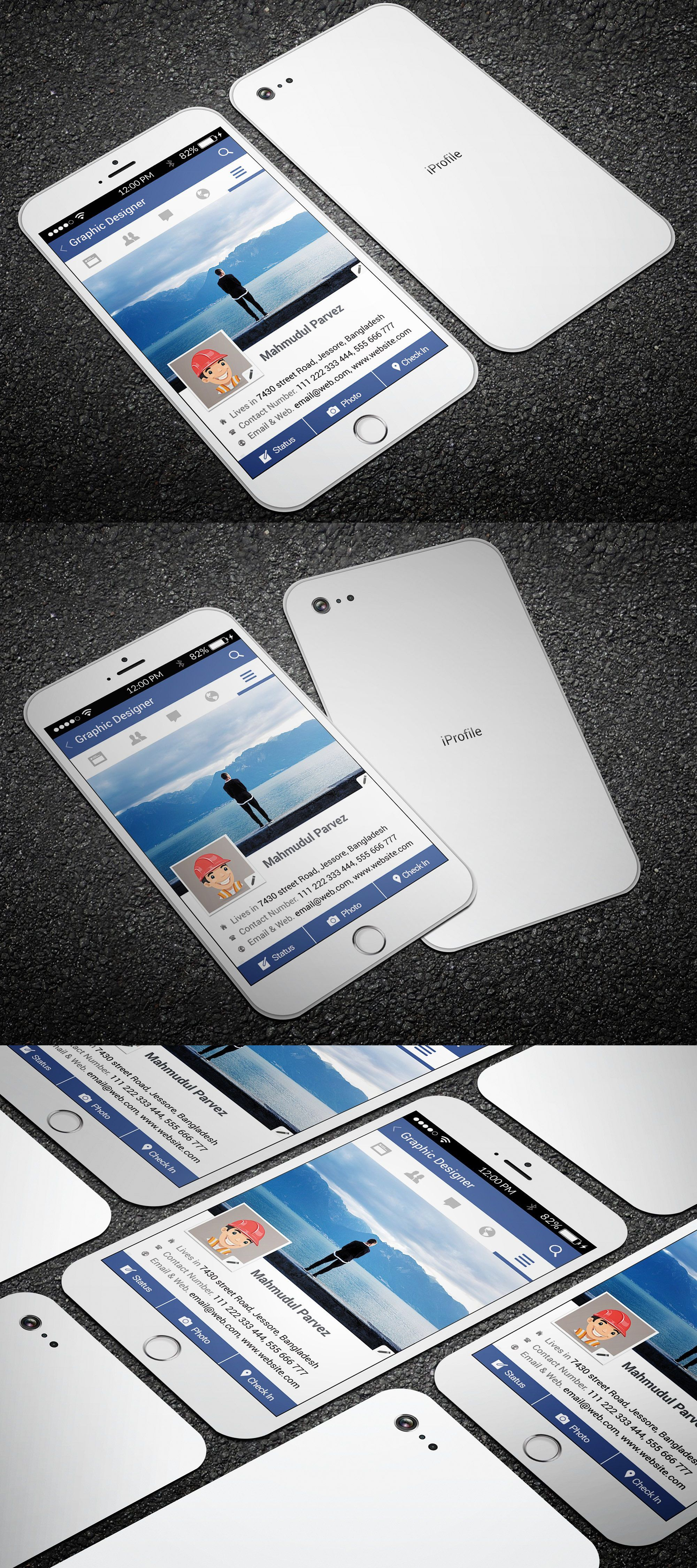 Iphone facebook business card pinterest facebook business iphone facebook business card template psd friedricerecipe Image collections