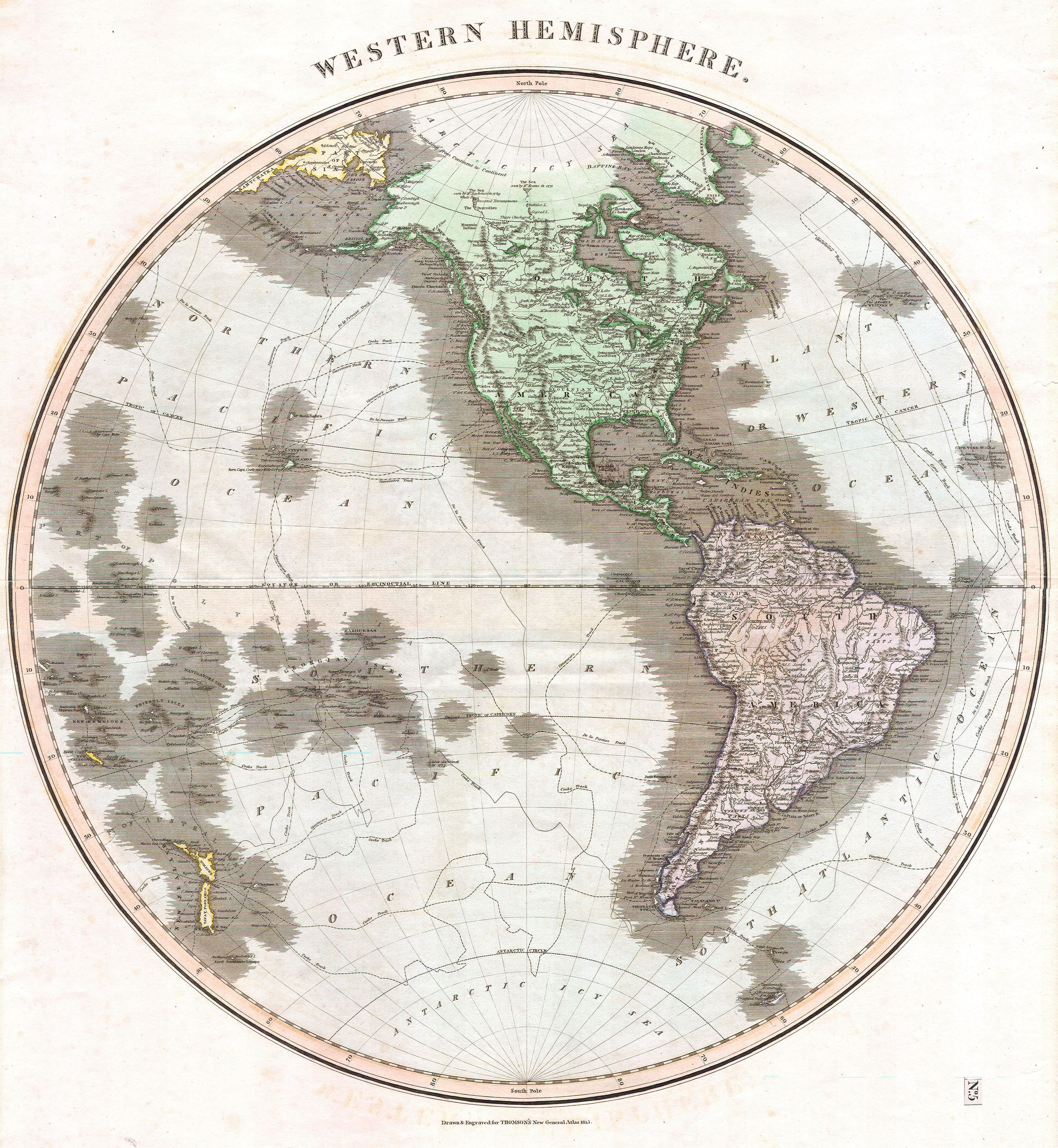 Thomson Map Of The Western Hemisphere North America
