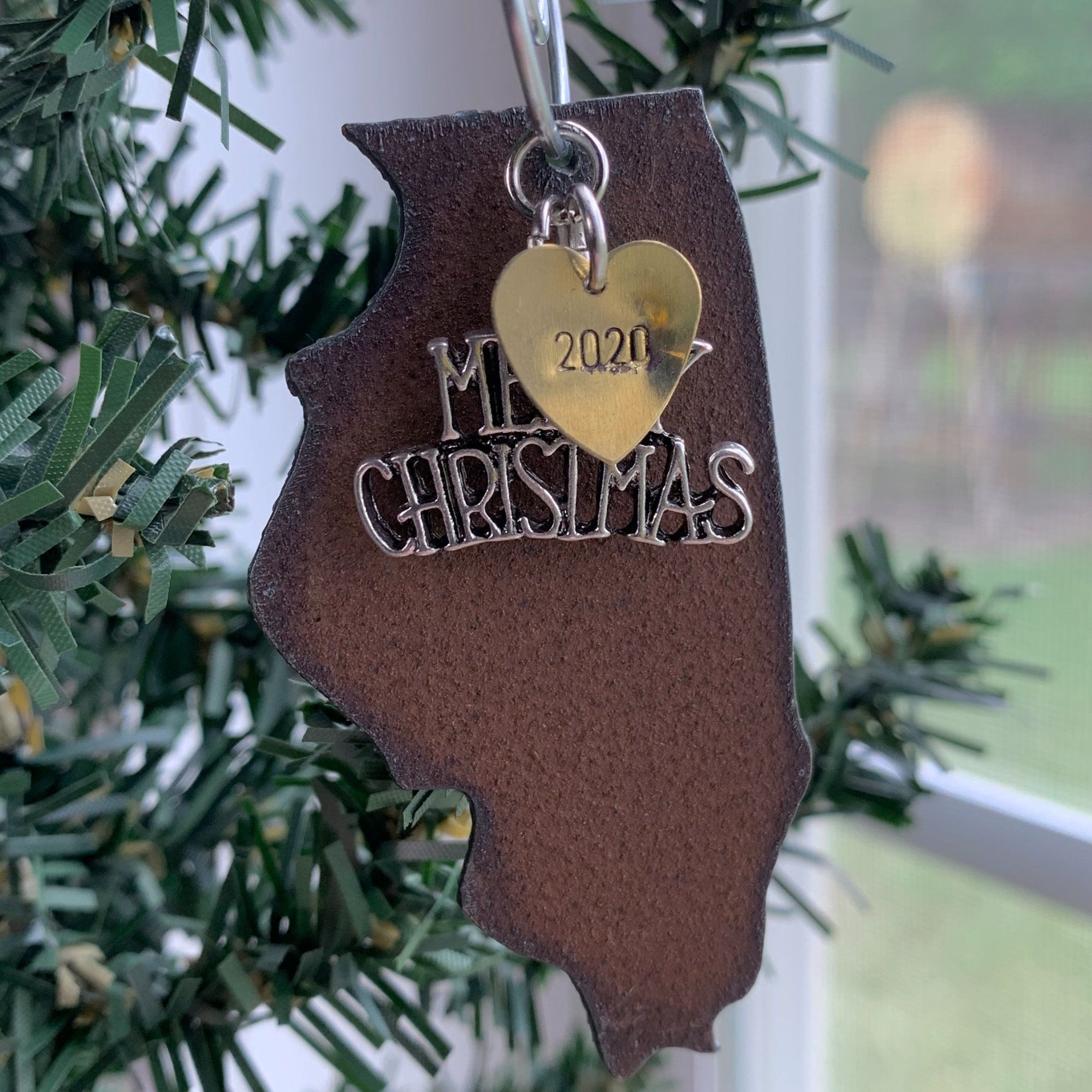 ILLINOIS Christmas Ornament / Rustic Metal Hand Stamped
