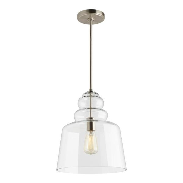 Sea Gull Lighting Agatha 12 5 In W X 14 75 In H 1 Light Clear Glass Pendant With Brushed Nickel Accents And Vintage Edison Bulb 6513501 962 In 2020 Blown Glass Pendant Light Glass