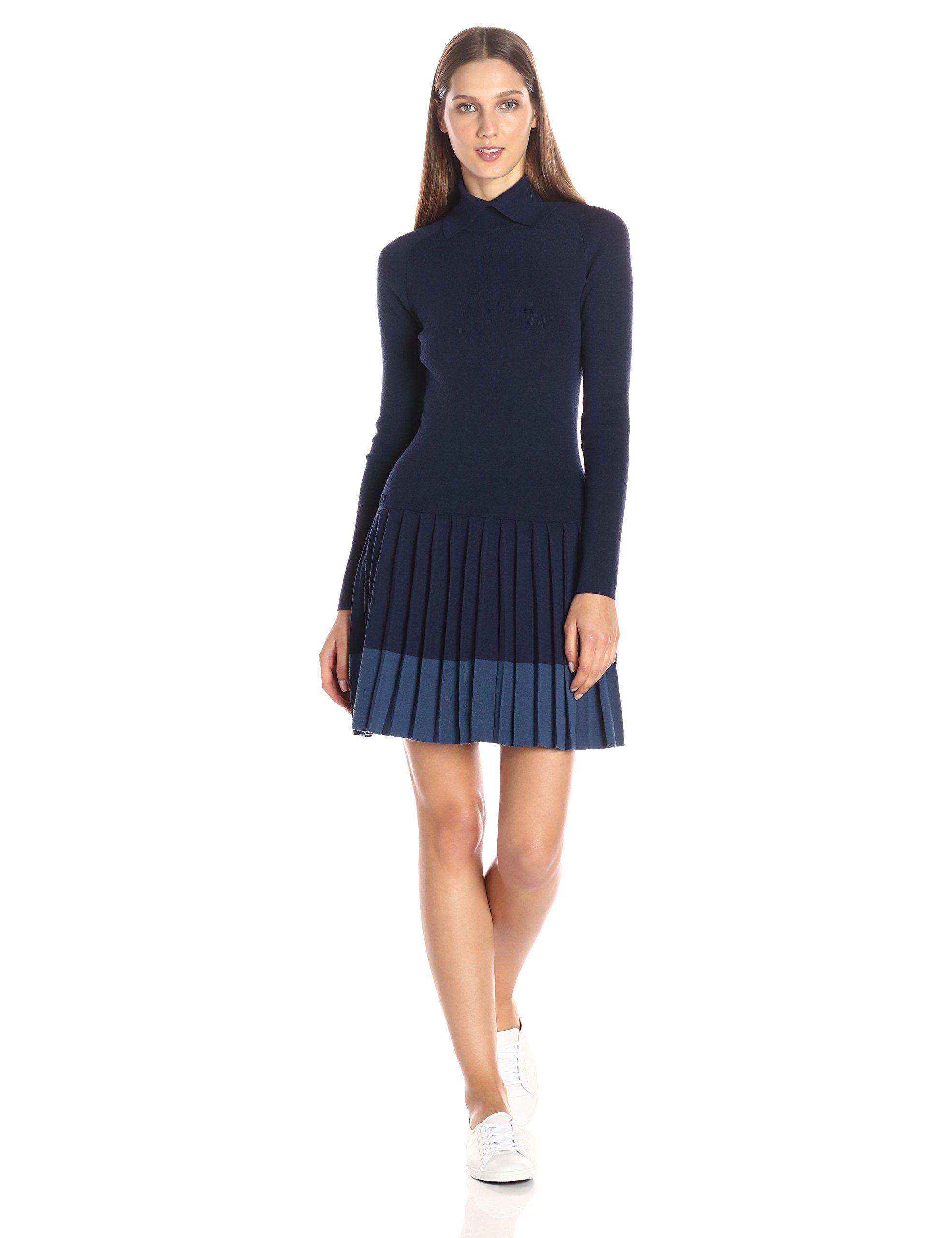 f6065a5e7a67 Lacoste Women s Long Sleeve Pleated Skirt Wool Collar Dress
