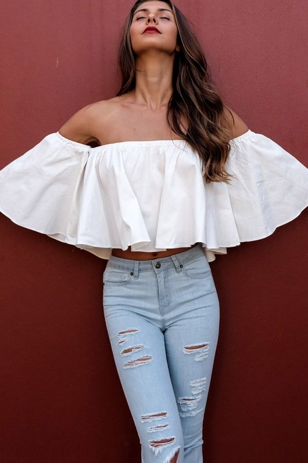 2cb70fc1edf It features off shoulder and ruffle design. Pair with denim pants and  stiletto heel sandals for a chic look.