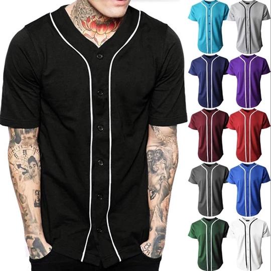 Black Baseball Jersey Men Short Sleeve V Neck Mens Buttons Tee Shirt H Geekbuyig Slim Fit Dress Shirts Mens Baseball Shirts Baseball Jersey Men