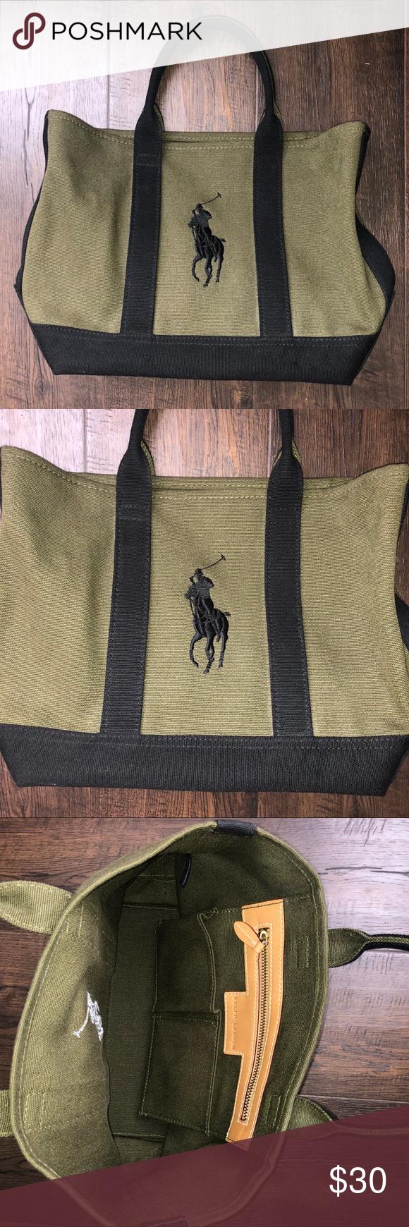 b6f7b31306d7 Ralph Lauren Small Canvas Tote Bag Ralph Lauren small canvas bag. Bag is  olive green