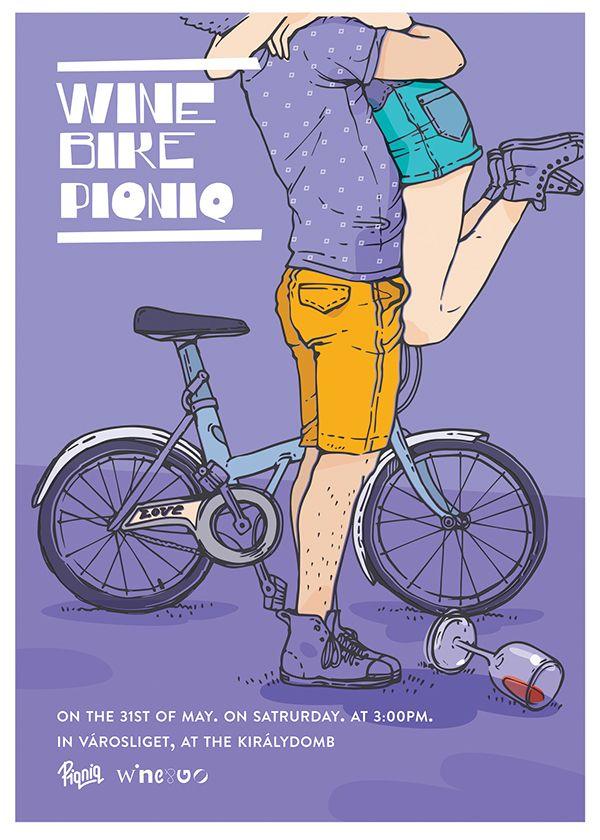 Wine Bike Piqniq posters Graphic Design, Illustration  Wine Bike Piqniq posters by Aliz Buzas