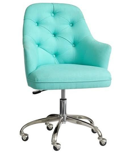 turquoise office chair posture operators tone it up hq tour coastal decorating pinterest tufted beach babe