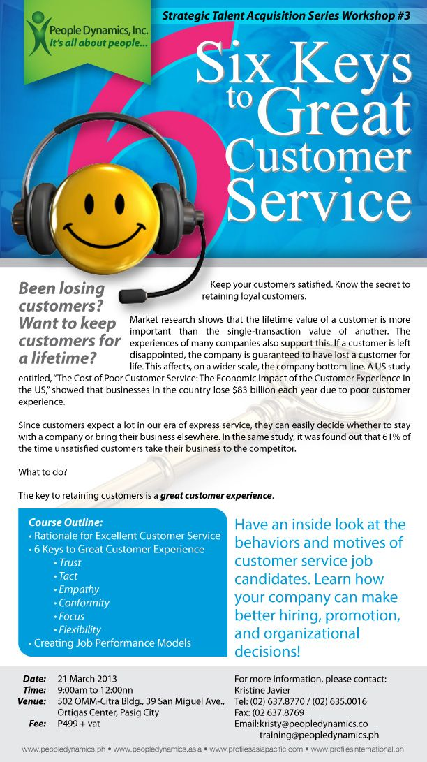 Upcoming Workshop Six Keys To Great Customer Service March 21st