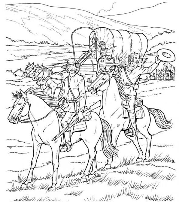 Covered Wagon Coloring Page Coloring Pages Adult Coloring Pages